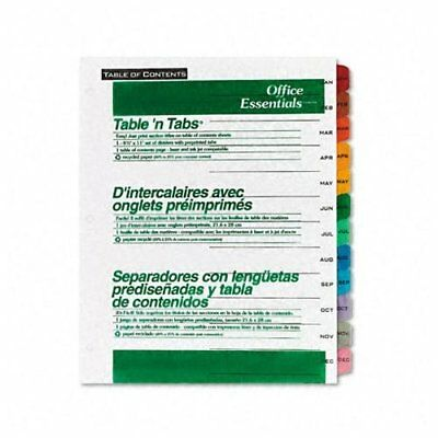 Avery Office Essentials Table N Tabs Monthly Divider - Printedjan - Dec - 8.50