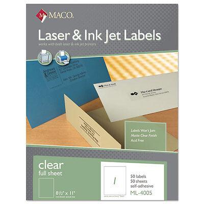 Maco Laser/Inkjet Matte Clear Full Sheet Labels, 8 1/2 x 11, 50/Box