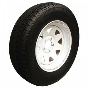 "ST205/75 R14 - 14"" TRAILER TIRES on WHITE RIMS - CLENTEC"
