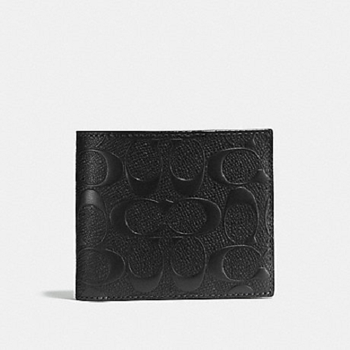 Coach Men's Compact ID 3-In-1 Black Leather Wallet