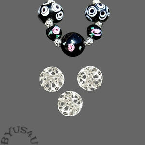 FILIGREE CUTOUT ROUND BEAD DESIGNER QUALITY choice of plating and size FREE SHIP