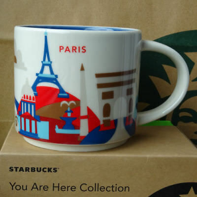 14oz Starbucks Paris You Are Here Coffee Mug Cup YAH Collection NEW