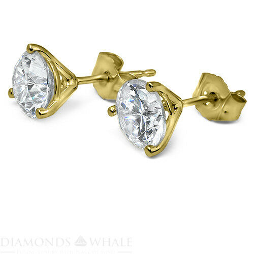 Engagement Diamond Earrings 1 Ct Vs2/d Stud Round 14k Yellow Gold Enhanced