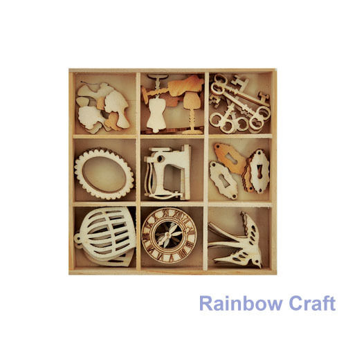 Kaisercraft Wooden Flourish packs / storage box 74 selections - Antiques
