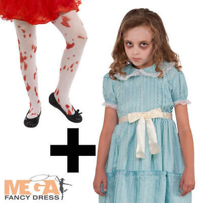 Creepy Sister Girl + Blood Stained Tights Halloween Fancy Dress Kids Costume - Creepy Girl Halloween
