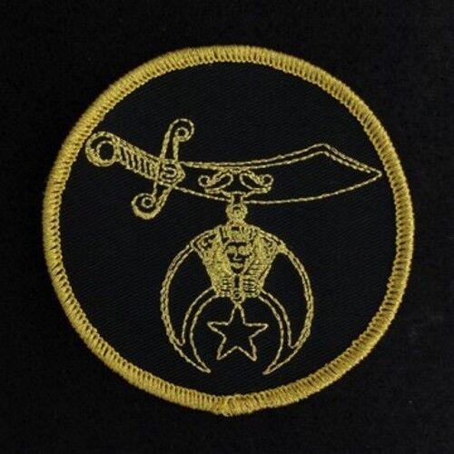 Masonic Shriner Black & Gold Embroidered Emblem Patch (SP-4)