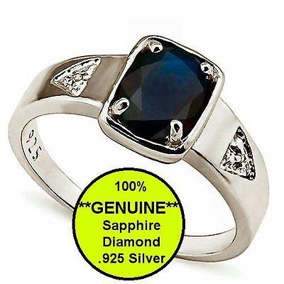 New Men's Sapphire Diamond .925 Sterling Silver Pinky Ring 10K White Gold Finish