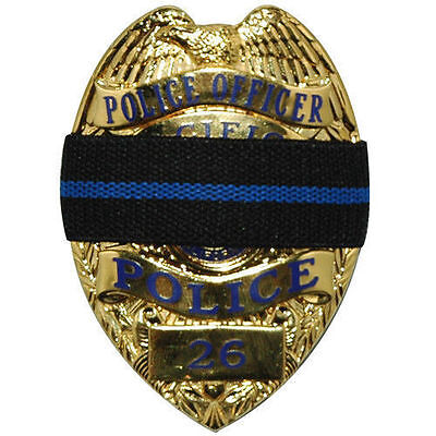Thin Blue Line Mourning Band Memorial Badge Cover for Police Reversible