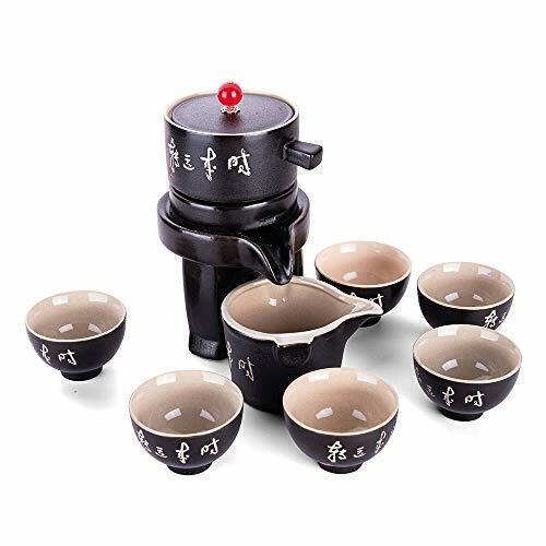 Ufine Chinese Ceramic Gongfu Tea Set Black Pottery Tea Service Set SemiAutomatic