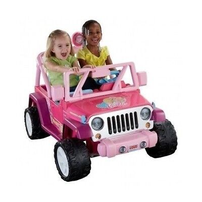 POWER WHEELS JEEP Wrangler Battery RIDE ON TOY Kid Baby Pink Car 2 Seater Riding