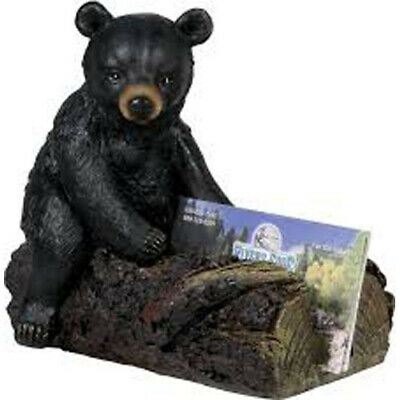 Black Bear Cub Business Card Holder Office Desk Tray New Resin Wildlife Rustic