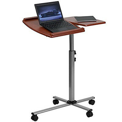 Laptop Table Stand Rolling Desk Cart Adjustable Angle Height Work Station Office