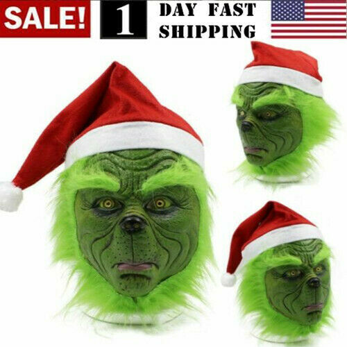 US! The Grinch Cosplay Mask Costume Christmas Prop Helmet How the Grinch Stole