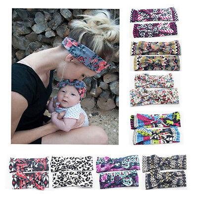 2Pcs Mom and Baby Hair Knot Bowknot Headband Photo Prop Headwrap New Trendy