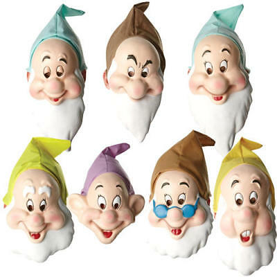 Disney 7 Dwarf Masks Adults Fancy Dress Snow White Fairytale Costume Accessories - Dwarf Costume Adults