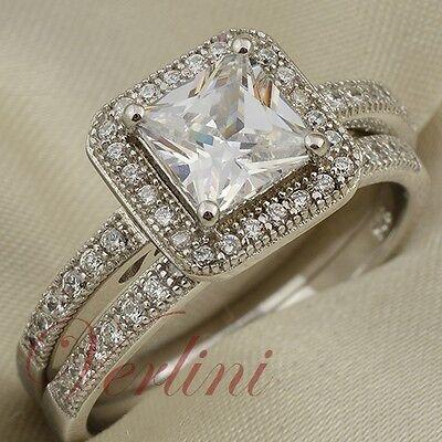 2 Ct Princess Cut Aaa Cz Women's Wedding Ring Set 925 Ste...