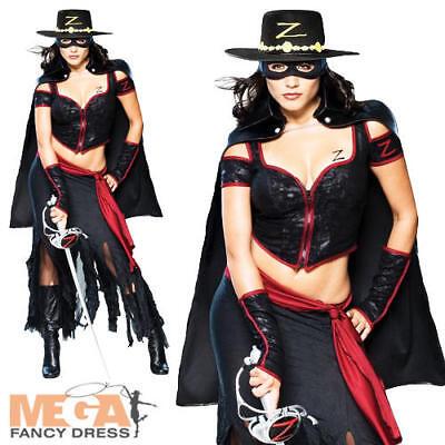 Sexy Zorro Ladies Fancy Dress Mask of Zorro Movie Adult Halloween Costume