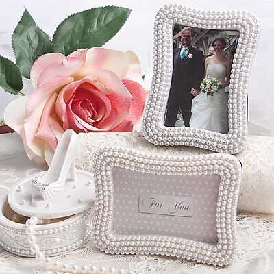 80 - Pretty Pearl Place Card Photo Frames - Wedding Favor - Free US Shipping