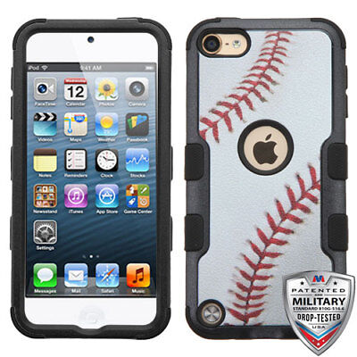 Base Ipod Touch (iPod Touch 5th/ 6th Gen Hybrid Tuff Case Cover Base Ball + Screen Protector)