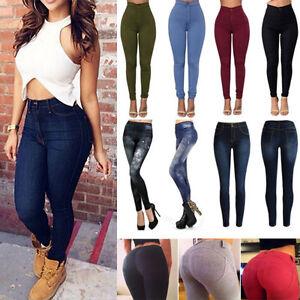 Mujer-Ajustado-Elastico-Pantalones-Denim-cintura-alta-Leggings-Vaqueros-Casual