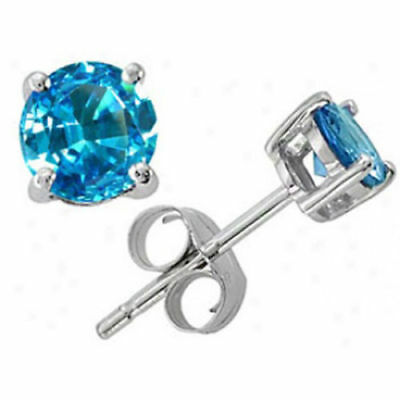 14k White Gold Blue Topaz Earrings - 14K SOLID WHITE GOLD BLUE TOPAZ ROUND SHAPE STUD EARRINGS PUSHBACK DEC BIRTHSTON