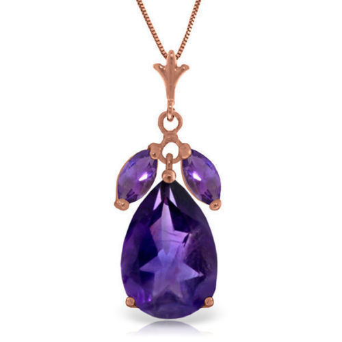 Yellow Genuine Amethyst Gem Solitaire Pendant Necklace in 14K Rose Gold White
