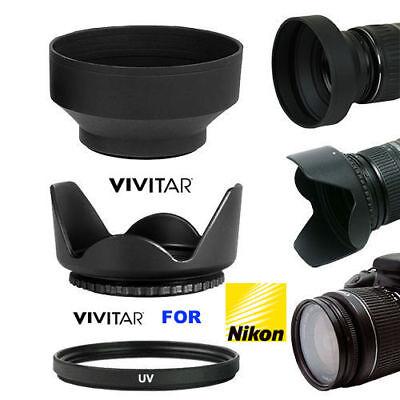 LENS  HOOD+ RUBBER SOFT HOOD + UV FILTER FOR NIKON D40 D50 D60 D70 D80 D90 (Nikon D80 Lens Hood)