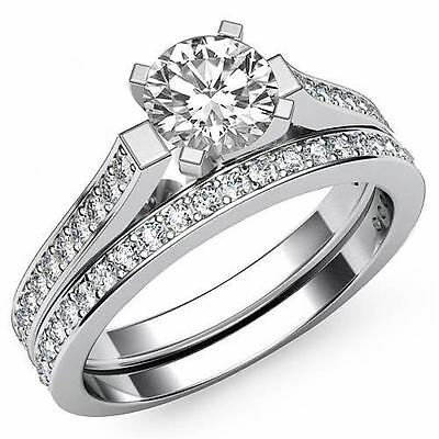 4 Prong Bridal Set Round Diamond Engagement Ring GIA F Color VS2 Clarity 1.57Ct 2