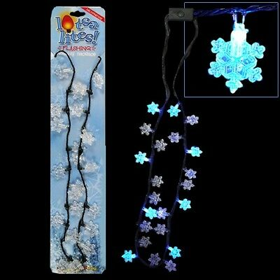 Flashing Christmas Necklace w/ Light Up Snowflakes Bulbs Bulk Lot (Pack of 25)
