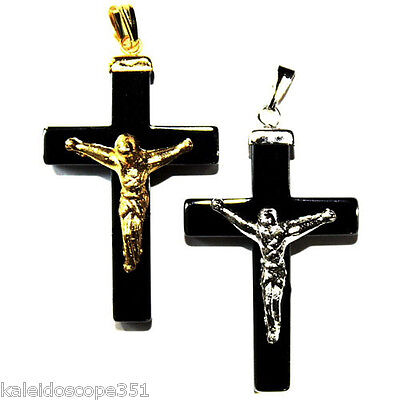HEMATITE JEWELRY CROSS PENDANT CHARM 40X23MM GOLD COLOR JESUS HC5 2 CHARMS