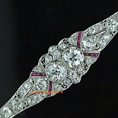Art Deco Twin Moissanite Diamond & Calibre Ruby Bracelet 925 Sterling Silver