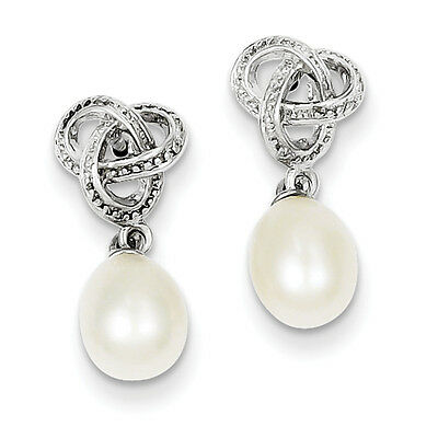 925 Sterling Silver Polished Dangle Freshwater Cultured Pearl CZ Post Earrings