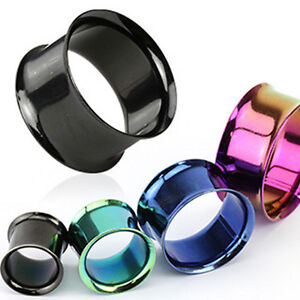 Pair-Titanium-Anodized-Double-Flare-Ear-Plugs-Tunnels-Earlets-Gauges
