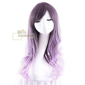 New Long Curly 55 cm Mixed Purple Fashion Wig Heat Resistant
