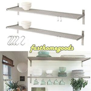 2 Kitchen Wall Shelf Stainless Steel IKEA Grundtal Pot Pan Plate Rack +5 Hooks