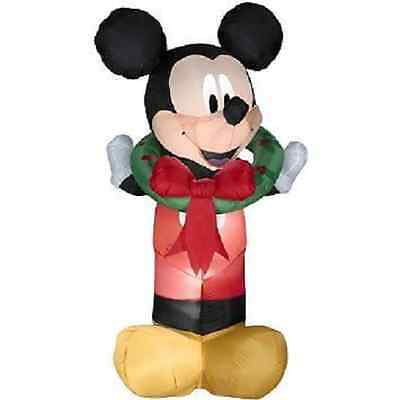 Gemmy Christmas Disney Mickey Mouse Wreath Airblown Inflatable Gemmy 5.5 Ft Tall