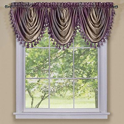 $14.11 - Achim Home Furnishings Ombre Waterfall Valance Aubergine, New