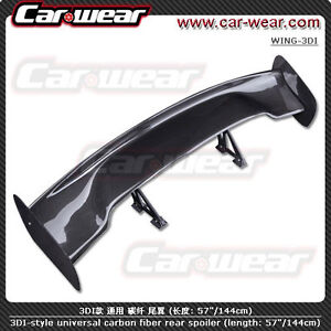 for Mercedes 57 3D GT JDM UNIVERSAL CARBON FIBER REAR SPOILER WING FREE Shipping