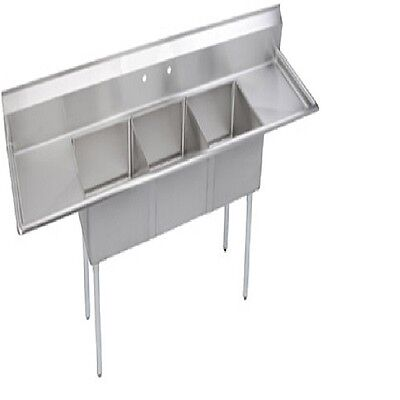 Stainless Steel 72 X 22 3 Three Compartment Sink W 2 Drainboards Nsf 16 Gauge