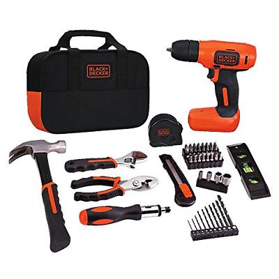 BLACK+DECKER 8V Drill & Home Tool Kit, 54 Piece