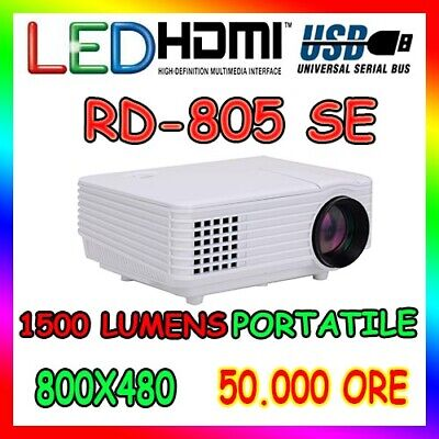 MINI PROIETTORE PORTATILE 1500 LUMENS LED USB VGA HDMI 1080P VIDEOPROIETTORE
