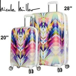 "NEW NICOLE MILLER 2PC HARD LUGGAGE N5142-99-2P 224885821 SPINNER SUITCASE 20""  CARRY ON  28'' LARGE"