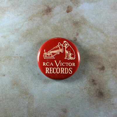 """Vintage Style Advertising Sign Pinback 1"""" RCA Victor Records Terrier Dog Maroon"""