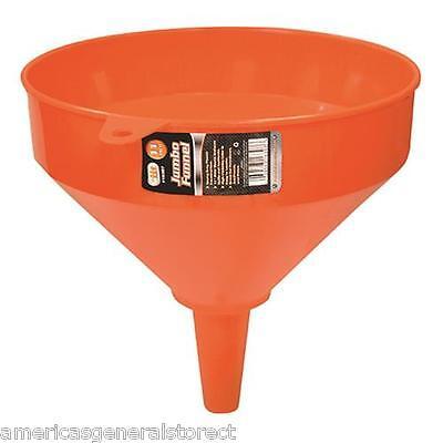 set of 2 -- 10 diameter funnels large orange  9.5 tall jumbo funnel 1 spout