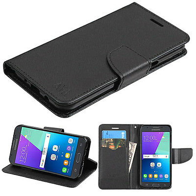 (Samsung GALAXY J3 Prime Emerge 2017 Leather Flip Wallet Case Cover Stand BLACK)
