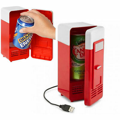 New Mini USB LED PC Refrigerator Fridge Beverage Drink Cans Cooler Warmer Red