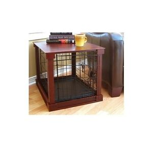 Furniture Pet Crate Dog Kennel Wood Small Size Cage Wooden End Side