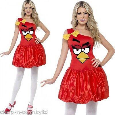 Damen Rote Angry Birds Sexy Henne Do Lizenziert Offiziell Kostüm Kleid (Sexy Angry Bird Kostüm)