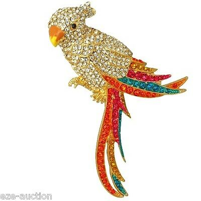 MULTI COLOR CRYSTAL GOLD PARROT BROOCH / PIN COMES IN GIFT BOX