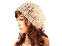 New Dark Beige Cream Taupe Cable Knit Chunky Warm Soft Beanie Hat-One Size Fits All.